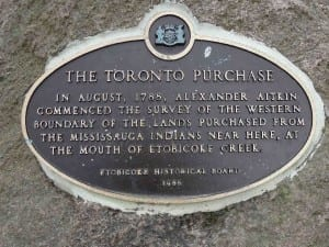 Text of Toronto Purchase plaque at Marie Curtis Park