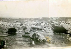 Children swimming in the ocean in Blackhead, Newfoundland, 1940s or 1950s