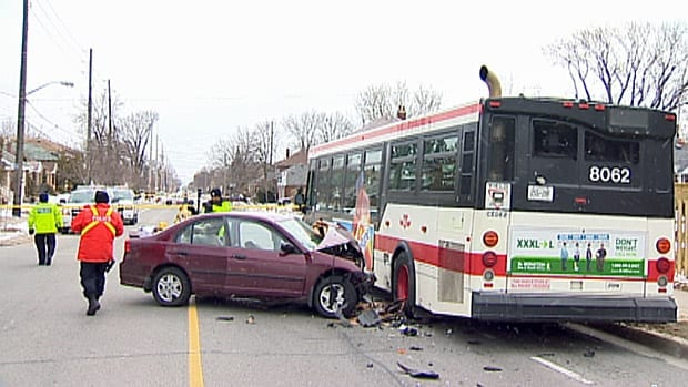 Woman hurt in collision with TTC bus on Royal York Road at Hillside