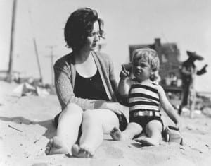 Norma on the beach as a toddler with her mother Gladys Baker. From mashable.com article, accessed via Twitter on Match 1, 2015. Source: http://mashable.com/2015/03/01/marilyn-monroe-child/?utm_cid=mash-com-Tw-main-link