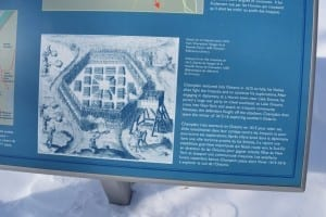 View of history display, related to the journeys of Samuel de Champlain, at Étienne Brûlé Park by the Humber River. Jaan Pill photo