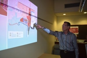 In presentation at the Long Branch Library on April 18, 2015, Jim Tovey points out features of the Lakeview Waterfront Connection Project. Jaan Pill photo