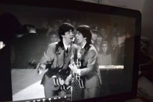 Image from Maysles 1960s documentary about the Beatles on their first visit to America. I borrowed the DVD from the Toronto Public Library and viewed it on a laptop.