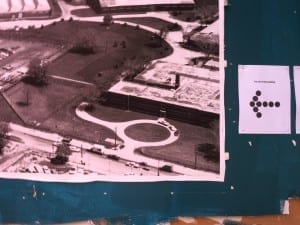 This is an archival photo, displayed at a September 28, 2013 Small Arms Doors Open event, that shows the circular driveway that used to be situated at the front of the Small Arms Building.