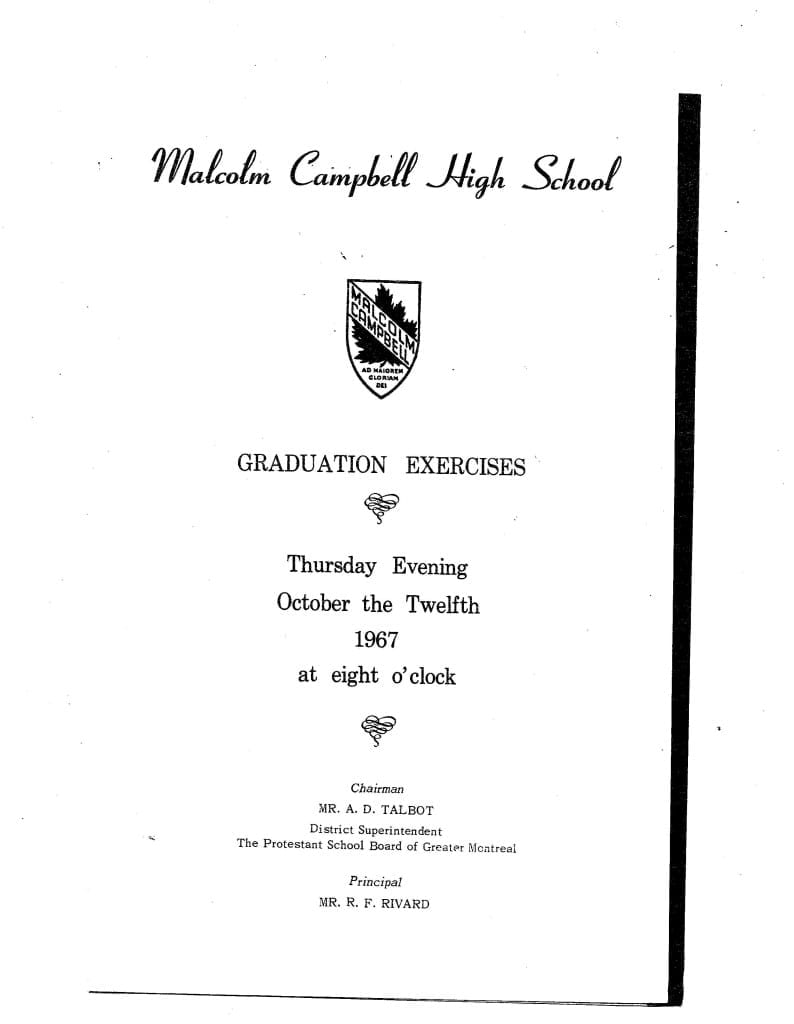 1967 Malcolm Campbell Graduation Program, Page 1