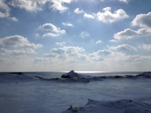 View of Lake Ontario from Marie Curtis Park, about February 2015. Jaan pill photo