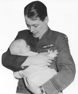 Flt. Lt. John McKinley Carswell meeting Robert Anthony Carswell for the first time in March 1945