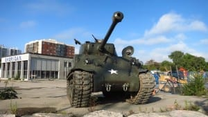 M4 Sherman tank on display across from Small Arms Building, at Dixie Road and Lakeshore Road East in Mississauga, at September 28, 2013 Small Arms Doors Open event. Jaan Pill photo