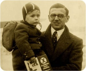 "The photo is from the New York Times article highlighted at this blog post. The caption reads: ""A family picture of Nicholas Winton with one of the hundreds of Jewish children whose lives he saved during World War II. Credit Press Association, via Associated Press."""