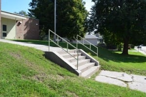 Railings, designed by Long Branch architect Elton, at steps at Parkview School. Jaan Pill photo
