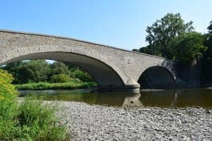 The Humber River walk will cross the Humber River at this bridge, which is located just to the west of Old Mill Toronto. Jaan Pill photo
