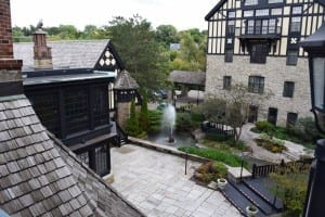 View of courtyard at Old Mill Toronto. If the weather remains good at that time of year, you can find quiet places to sit and chat in the courtyard area, as well as in nooks and crannies of Old Mill Toronto, during the reunion. Jaan Pill photo