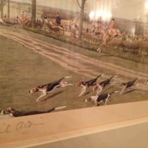 Paintings in the Humber Room feature dogs running across a field, apparently a demonstration of a long-standing British cultural practice. We await an explanation from Graeme Decarie concerning the historical significance of pastimes such as fox hunting. Jaan Pill photo
