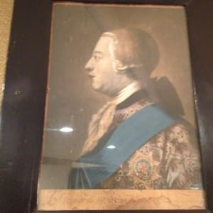 A portrait of King George the 3rd, a British cultural figure, in lobby area outside of the Humber Room. Jaan Pill photo