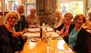 "Lunch at Chez Piggy's, Kingston, August 2015. Left to right: Maureen  (""my lady,"" notes Tim), Bill Ott, Tim, Bob Saul, Betty Saul, Dawn Ott."