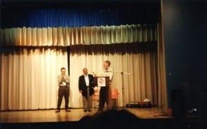 Presentation of plaque by Gruce Goodman to Mr. Bulgarian, Principal of Sourp Hagop Armenia School. Also in the photo: Geno Fuoco. Source: Bruce Goodman