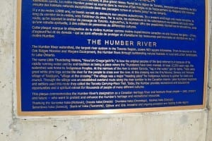 At the bridge that crosses the Humber River along Bloor St. West, you can see a plaque about the Humber River, a detail of which is included in the photo. The text is set in very wide columns, which makes for difficult reading. Nonetheless, the text is of interest and warrants a close read. You can read it if you click on the image, and click again. Jaan Pill photo