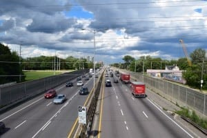 Stay Inn is located near the Queen Elizabeth Way (QEW) in South Etobicoke. The photo shows the eastbound lanes (on the left) and westbound lanes (on the right). The view is from the Dixie Road overpass in Mississauga. On the horizon you can see South Etobicoke (Toronto) where the Stay inn is located. Jaan Pill photo
