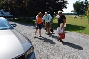 The Event Committee met on July 28, 2015 at Dan and Gina Cayer's farm in St. Williams, Ontario. Left to right, Gina Davis Cayer, Peter Mearns, and Lynn Hennebury Legge. Jaan Pill photo