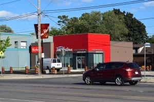 Here's another view of a new Tim Horton's on Lake Shore Blvd. West across from a No Frills store just east of Brown's Line in South Etobicoke. Jaan Pill photo