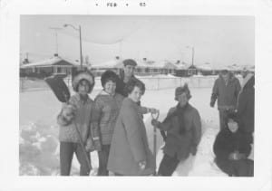 Left to right: Sandra Holden. Lynn Smiley, Barry Levitt – the only boy in 11C, Myrna Ramsay, Joan Skelcher, Arleen Smith (sitting). In the background are Heather Locke and teacher Mr. Doig. Source:  Arleen Smith