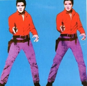 Of the images in the book, the one that most strongly held my attention was the ironic silkscreen by Andy Warhol.