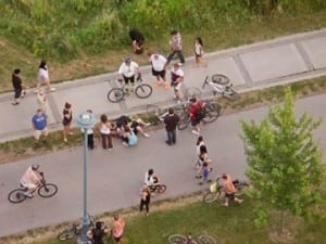 Palace Place resident Robin Clay shot this photograph from his window July 27 around 8:30 p.m. after two cyclists collided on the trail. Paramedics transported one cyclist to hospital. Many Humber Bay Shores and Mimico residents charge cyclist collisions happen routinely on the trail. They are asking the city to implement safety measures, such as signs or speed humps, to slow some cyclists down. Source: Aug. 6, 2015 insidetoronto.com article cited at the post you are now reading