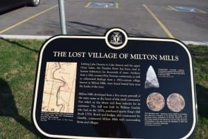 Lost Village of Milton Mills. The plaque is located along Old Mill Road just south of the parking lot. Jaan Pill photo