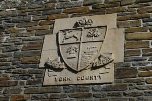 York County crest (detail from bridge that crosses the Humber River at Old Mill Road). Jaan Pill photo
