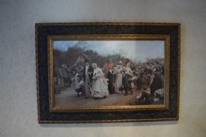 Painting of a Wedding Procession at Old Mill Toronto, the site of a high school reunion that I was recently involved in organizing. I will be writing in future posts about what the painting signifies, and what comes to mind for me when I view it closely. Jaan Pill photo
