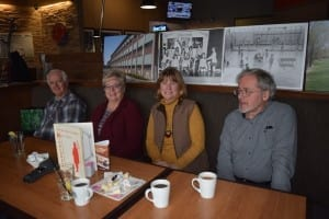 Left to right, Peter Mearns (MCHS 1964), Lynn (Hennebury) Legge (MCHS 1964), Gina (Davis) Cayer (MCHS 1967), and Scott Munro (MCHS 1963).