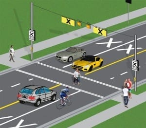Drivers and cyclists must wait until pedestrians have completely crossed the road