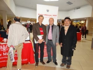MPP Peter Milczyn, Etobicoke-Lakeshore, with local resident and volunteer Jaan Pill, and Kunga Tsering, Tibetan Canadian Cultural Centre, at the 11th Annual Government & Community Services Fair at Cloverdale Mall, February 20, 2016