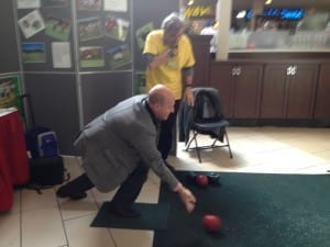 Peter Milczyn at the New Toronto Lawn Bowling Club display at Feb. 20, 2016 Government and Community Services display. Jaan Pill photo