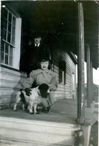 Betty Farenick, age about 16, visiting her uncle Robert Christopherson at the Samuel Smith house (the photo was taken at the back of the house) in the 1940s. © Betty Farenick and family