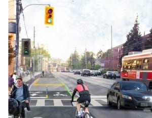 The image if the proposed Bio-Directional Bike Lane along Lake Shore Blvd. West, between Norris Crescent and First Street in Ward 6, is from the Biking Toronto post referenced at the page you are now reading.