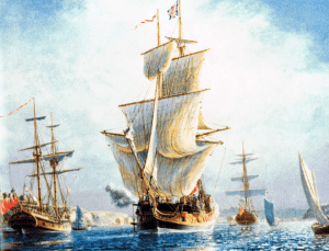 HMS ONTARIO, circa 1780, Fort Niagara. The photo is from the Kickstarter campaign discussed at the page you are now reading.