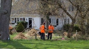 """The photo is from the May 13, 2016 Mississauga News article for which a link is posted at the page you are now reading. The caption, from the news story reads: """"Dig - Photo by Bryon Johnson - An archeological assessment is taking place at a former residential property on Stavebank Road."""""""