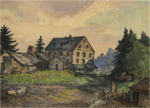 William Gamble's mill, painting (1878). Courtesy of Toronto Public Library/ DC-JRR3381