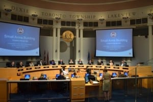 Update: Great presentation by Diane LaPointe-Kay, President, Small Arms Society at June 15, 2016 City of Mississauga Council meeting. The presentation was well received and led to wide-ranging discussion by Councillors and the Mayor. Jaan Pill photo