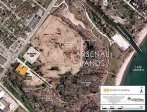 Aerial view of Arsenal Lands, taken some time after the demolition of the Small Arms Ltd. munitions plant. The yellow building is the Small Arms building. The parking lot that was in place just east of the Small Arms building has since been removed. Featured in the June 17, 2016 Mississauga News article, the photo is from the Toronto and Region Conservation Authority.