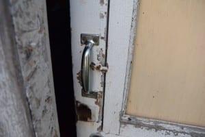 Doorknob at shed door has been destroyed.