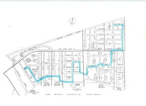 Walk route superimposed on Long Branch Subdivisions map