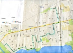 Long Branch Urban Design Guidelines Walk Route. The map is from Google Maps.