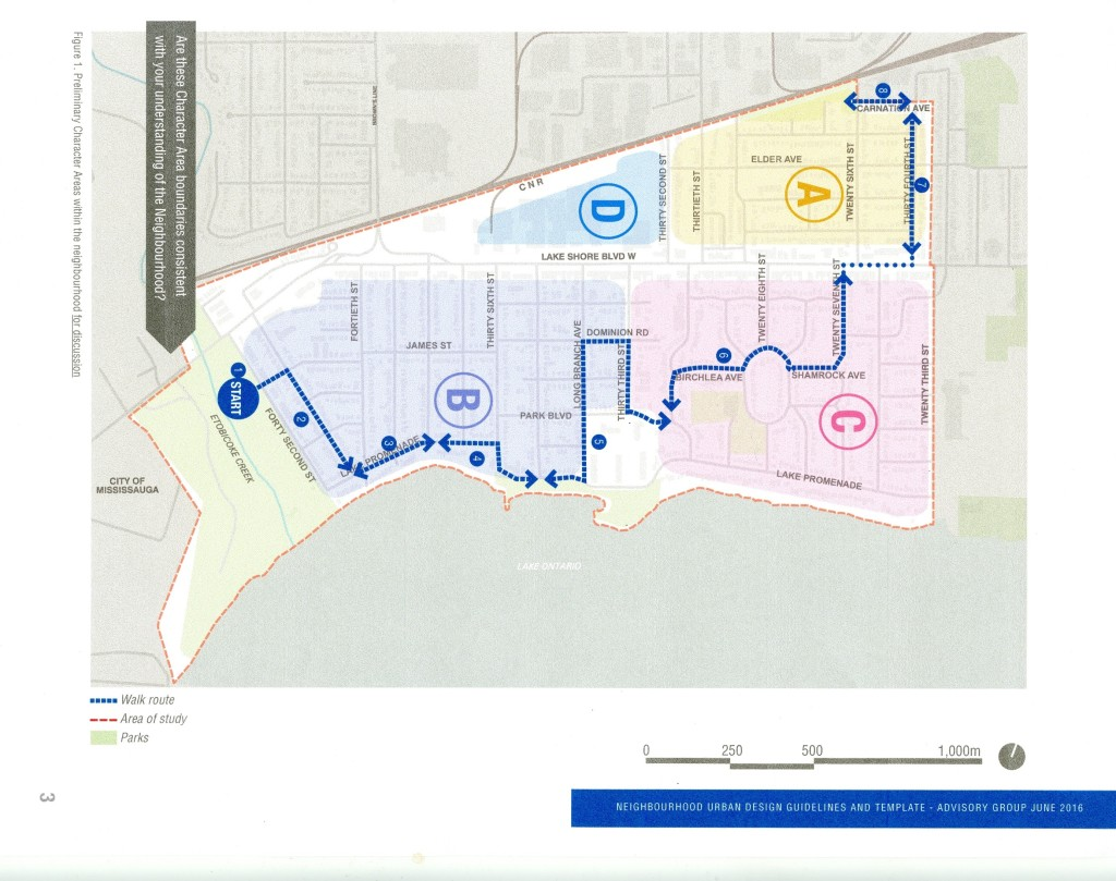 Map of Preliminary Character Areas within the neighbourhood, presented for purposes of discussion among the Community Advisory Group. Source: Long Branch Neighbourhood Walking Tour Workbook