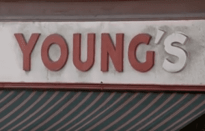 "In accordance with the Quebec language legislation, a sign such as ""Young's"" had to be changed to ""Young"" so that the word was changed from English to French."