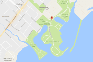 Closer view of  image from Google Maps; see link at this page to access map showing location of Lakeshore Promenade Marina.