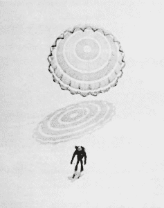 The parachute opens in Crawley's The Man Who Skied Down Everest.