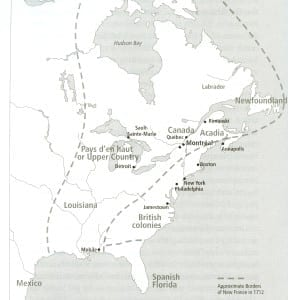 The History of Montréal: The Story of a Great North America City (2007) also features a map (p. 41) of the French Empire in North America as it appeared in 1712. The next year, 1713, marked the first step, through the Treaty of Utrecht, the caption on p. 42 notes, in the dismantling of the empire. Click on the image to enlarge it; click again to enlarge it further.