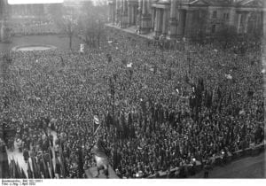 """By way of an update to the post you are now reading, the image is from a tweet by Laura Schneider @alauraschneider who notes: """"History shows that protests alone are not enough. In 1932, 100,000 people in Berlin demonstrated against the Nazis. @Nein_zur_AFD."""" Laura Schneider is a """"Journalist. Working in international media development at Deutsche Welle Akademie. Formerly Spiegel Online, UNESCO. PhD on global press freedom."""""""